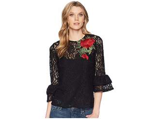 Scully Kathe Lace Top w/ Tank and Rose Applique