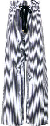 Mother of Pearl Striped Organic Cotton-poplin Wide-leg Pants - Navy