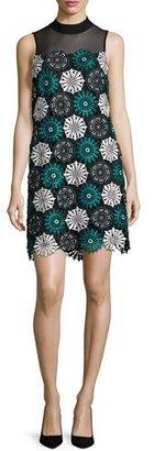 ZAC Zac Posen Esme Lace Illusion Shift Dress, Blue/Black $590 thestylecure.com