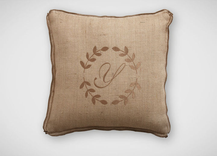Wheat Wreath Monogram Pillow