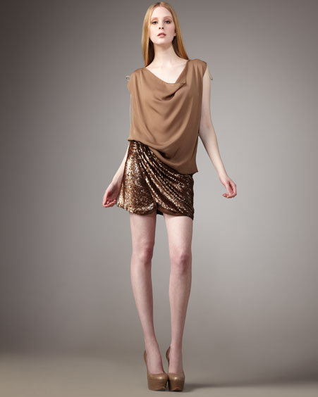 Elie Tahari Lace-Up-Sleeve Top & Sequined Faux-Wrap Skirt