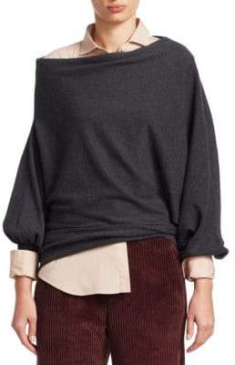 Brunello Cucinelli Off-The-Shoulder Cashmere Knit Sweater