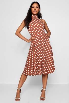 boohoo Polka Dot High Neck Midi Dress