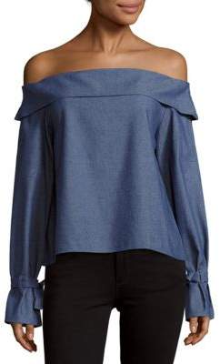 Chambray Off-The-Shoulder Top $84 thestylecure.com