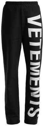 Vetements Logo Cotton Jersey Track Pants - Womens - Black