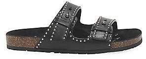 Saint Laurent Women's Jimmy Faux-Pearl Studded Leather Sandals