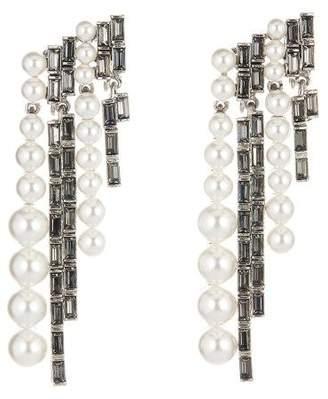 Oscar de la Renta Pearl and Baguette Earrings