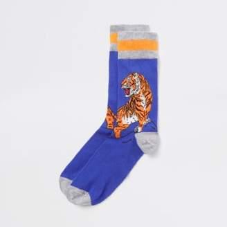 River Island Blue tiger embroidered novelty socks