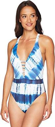 Lucky Brand Women's Strappy Front One Piece Swimsuit