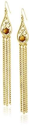 Ben-Amun Jewelry Bohemian Fringe with Tiger Eye Stones Drop Earrings