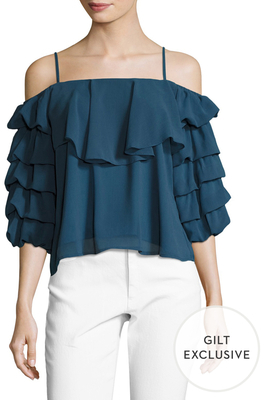 Tiered Ruffle Sleeve Top $84 thestylecure.com
