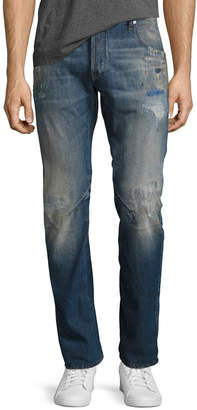 G Star Arc 3D Slim Distressed Patch Jeans, Medium Vintage Blue