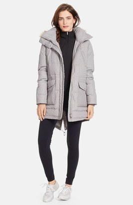 Women's Lauren Ralph Lauren Faux Fur Trim Tweed Print Anorak With Down & Feather Fill $320 thestylecure.com