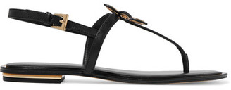 MICHAEL Michael Kors - Justine Embellished Leather Sandals - Black $140 thestylecure.com