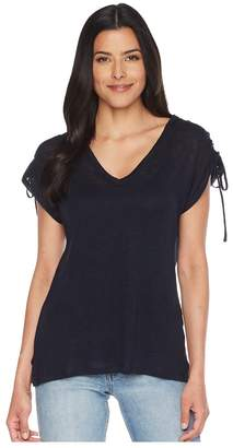 Vince Camuto Drawstring Shoulder V-Neck Linen Tee Women's T Shirt