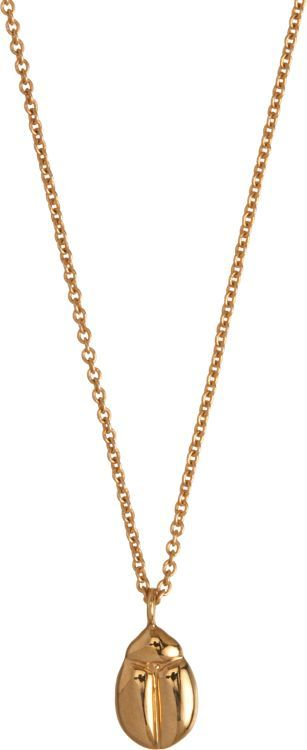 Minor Obsessions Gold Scarab Pendant Necklace-Colorless