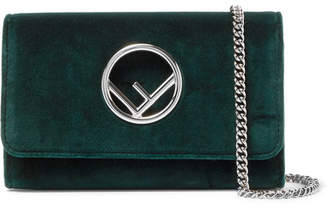 Fendi Velvet Shoulder Bag - Emerald