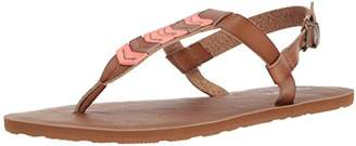 Volcom Women's Trail 6 Chevron T-Strap Synthetic Leather Fashion Sandal Flat
