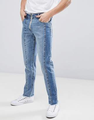 Asos Design Slim Jeans With Cut And Sew Detail
