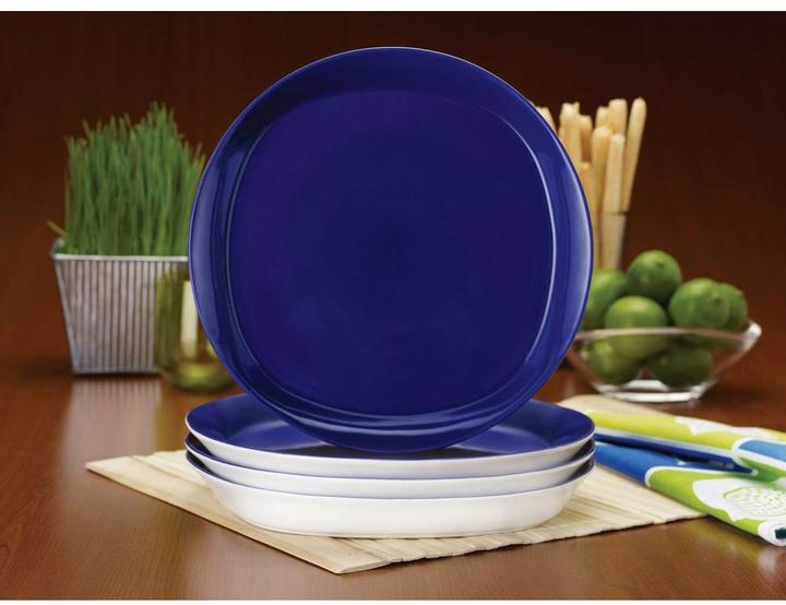 Rachael Ray Round and Square 4-Piece Dinner Plate Set in Blue Raspberry