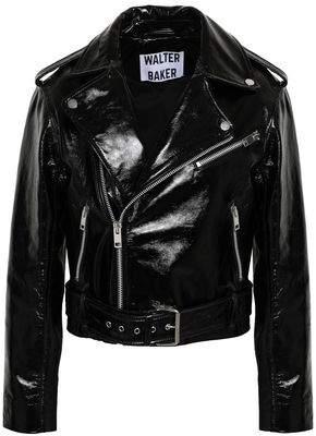 Walter W118 By Baker Chrystal Crinkled Patent-leather Biker Jacket