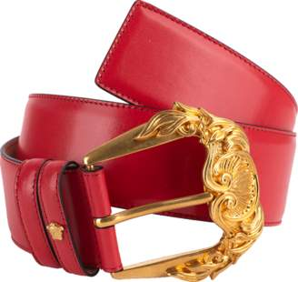 Versace Gold Buckle Wide Leather Belt