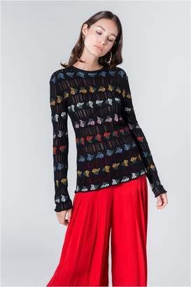 Sonia Rykiel Long Sleeves Top In Mimosa Openwork Cotton