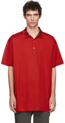 Alexander McQueen Red Embroidered Polo