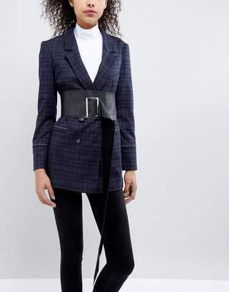 Asos DESIGN Leather Soft Obi Belt With Oversized Buckle