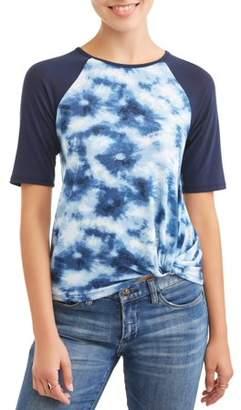 Btween Juniors' Tie Dye Twist Front Raglan Short Sleeve T-Shirt