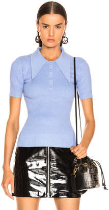 JoosTricot Short Sleeve Rib Polo in Blueberry | FWRD
