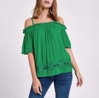 River Island Womens Petite green bardot lace hem top