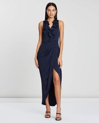 Shona Joy Luxe Plunge Frill Draped Dress