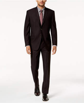 Andrew Marc Men's Modern-Fit Stretch Burgundy Solid Suit