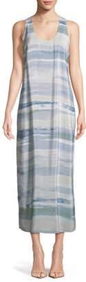 Nic+Zoe Watercolor Silk-Blend Maxi Dress, Petite