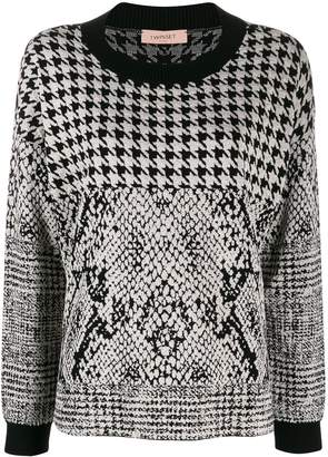 Twin-Set houndstooth and animal pattern jacquard sweater