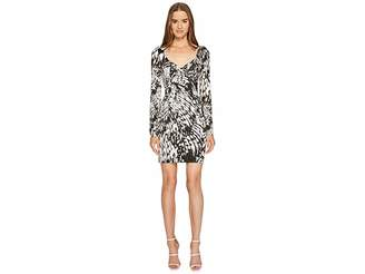 Just Cavalli Wings of Dove Printed Jersey Long Sleeve Dress Women's Dress