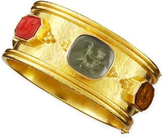 Elizabeth Locke Cherub Venetian Glass Intaglio Bangle, Neutral