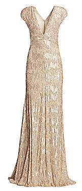 Pamella Roland Women's Sequin & Crystal Georgette V-Neck Gown