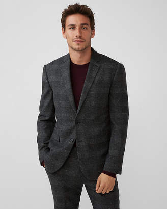 Express Slim Charcoal Plaid Wool-Blend Suit Jacket
