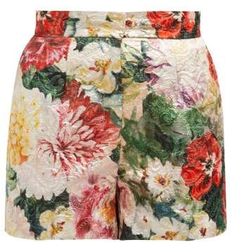 Dolce & Gabbana Floral Print Brocade Shorts - Womens - Ivory Multi