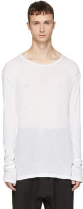 Unravel White Long Sleeve Rib Elongated T-Shirt