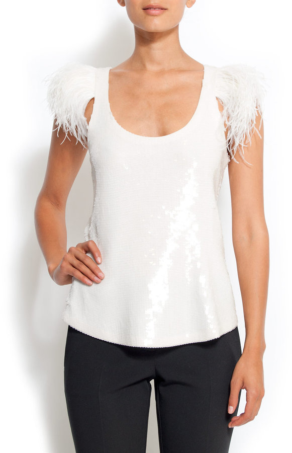 Loose-fit sleeveless sequin-embellished t-shirt