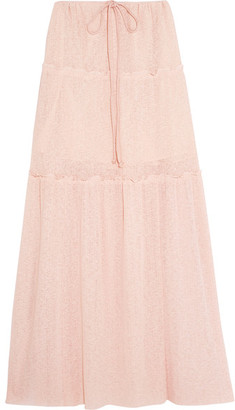 See by Chloé - Tiered Stretch-knit Maxi Skirt - Pastel pink $395 thestylecure.com