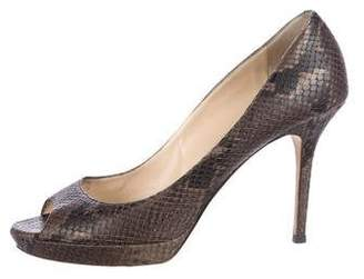 6a44e7af7aa Pre-Owned at TheRealReal · Jimmy Choo Embossed Peep-Toe Pumps