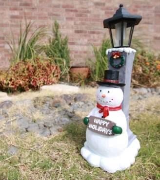 "Atlantic Collectibles Jolly Christmas Frosty The Snowman Decorative Statue W/ Solar LED Light Lantern Lamp 18.5""H"