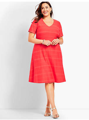 Talbots Plus Size Exclusive Embroidered Stripe Fit-And-Flare Dress
