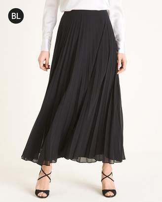 Black Label Solid Pleated Maxi Skirt
