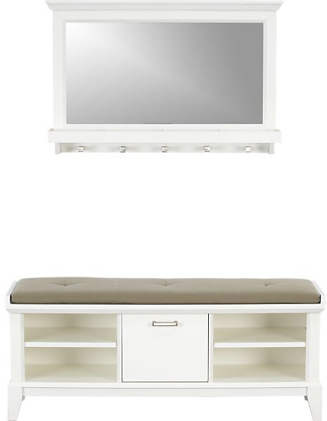 """Crate & Barrel Paterson White Bench with Cushion and Mirror. 47.75""""Wx15.5""""Dx19.25""""H bench, 45.75""""Wx14.5""""Dx1.5""""H cushion, 36.75""""Wx6""""Dx23.75""""H mirror."""