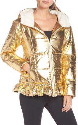KATE SPADE NEW YORK metallic puffer jacket